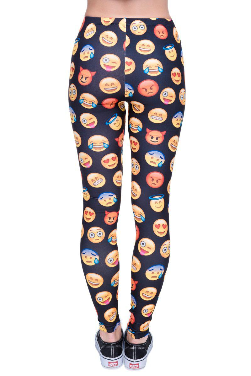 Emoji Black Regular Leggings