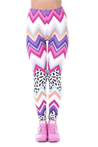 Zig Zag And Dashes Regular Leggings-Wholesale Women's Leggings, Wholesale Plus Size , Wholesale Fashion Clothing