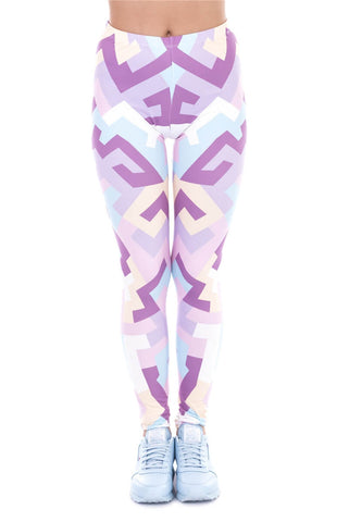 Geometric Shapes Pink Regular Leggings-Wholesale Women's Leggings, Wholesale Plus Size , Wholesale Fashion Clothing