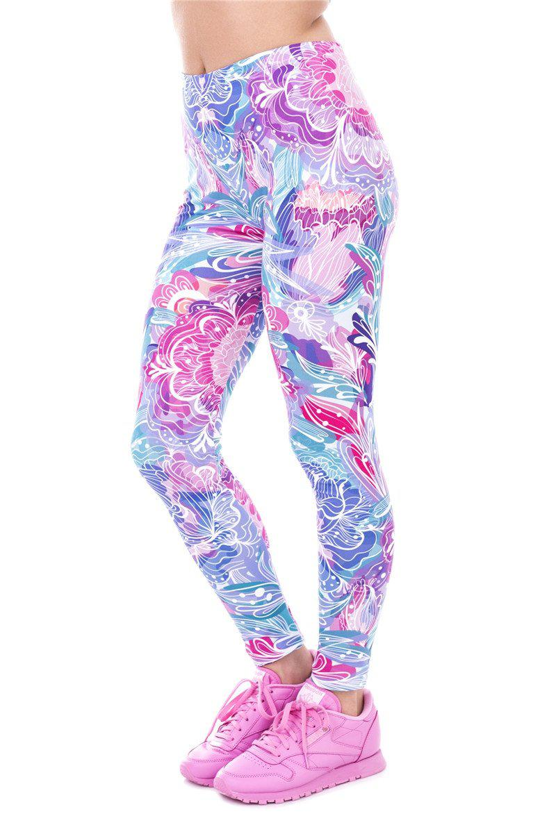 Exotic Purple Flowers Regular Leggings