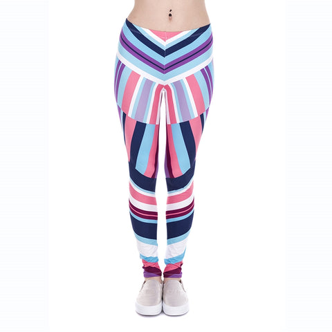 Geometric Stripes Regular Leggings-Wholesale Leggings UK- Wholesale Women's Clothing- Kukubird Creative Studio