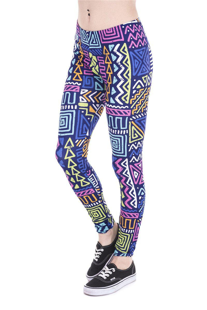 African Zig Zag Purple Regular Leggings