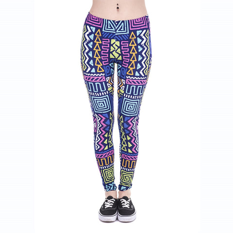 African Zig Zag Purple Regular Leggings-Wholesale Leggings UK- Wholesale Women's Clothing- Kukubird Creative Studio