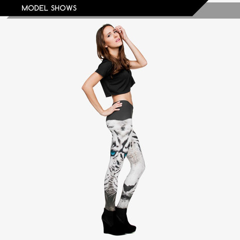White Tiger Regular Leggings-Wholesale Women's Leggings, Wholesale Plus Size , Wholesale Fashion Clothing