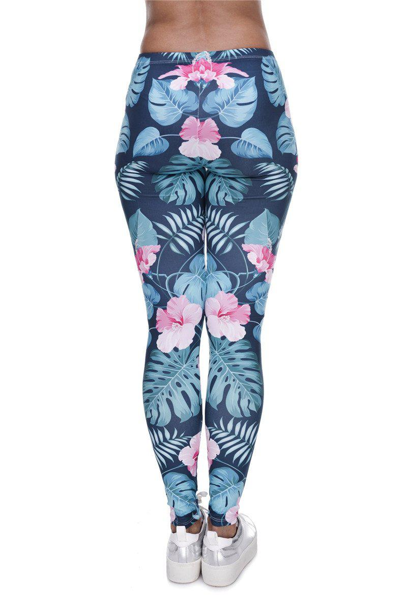 Tropical pink flowers floral Regular Leggings