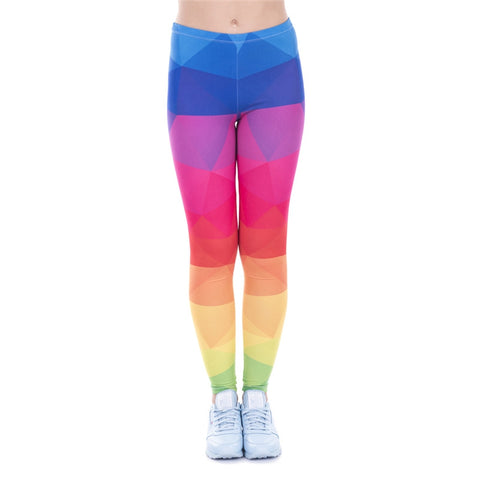 Triangles Rainbow Regular Leggings-Wholesale Women's Leggings, Wholesale Plus Size , Wholesale Fashion Clothing