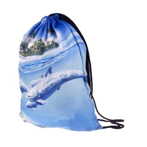 Dolphins DrawString Bags-Wholesale Women's Leggings, Wholesale Plus Size , Wholesale Fashion Clothing