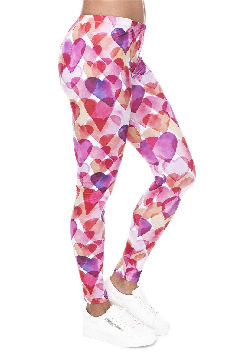Watercolor Hearts Regular Leggings