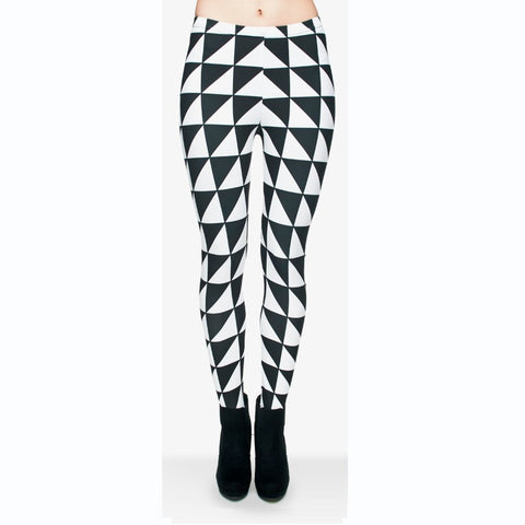 Triangles black white Regular Leggings-Wholesale Women's Leggings, Wholesale Plus Size , Wholesale Fashion Clothing