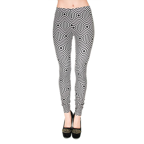 Hypnose Hexagon Regular Leggings-Wholesale Leggings UK- Wholesale Women's Clothing- Kukubird Creative Studio