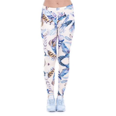 Feathers Yellow Regular Leggings-Wholesale Women's Leggings, Wholesale Plus Size , Wholesale Fashion Clothing