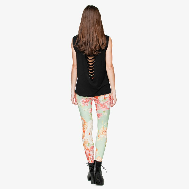 Mint Flower Regular Leggings