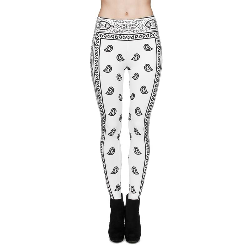 Bandana White Regular Leggings-Wholesale Leggings UK- Wholesale Women's Clothing- Kukubird Creative Studio