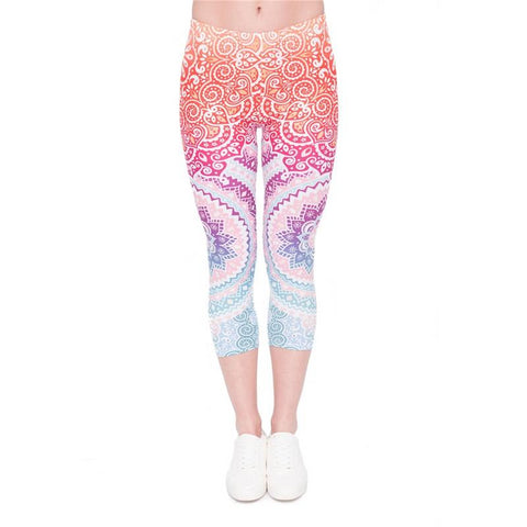 Aztec Round Ombre Capri Leggings-Wholesale Women's Leggings, Wholesale Plus Size , Wholesale Fashion Clothing
