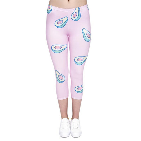 Avocado Pink Capri Leggings-Wholesale Women's Leggings, Wholesale Plus Size , Wholesale Fashion Clothing