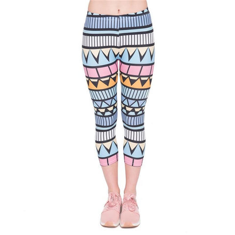 Aztec Blue Capri Leggings-Wholesale Leggings UK- Wholesale Women's Clothing- Kukubird Creative Studio