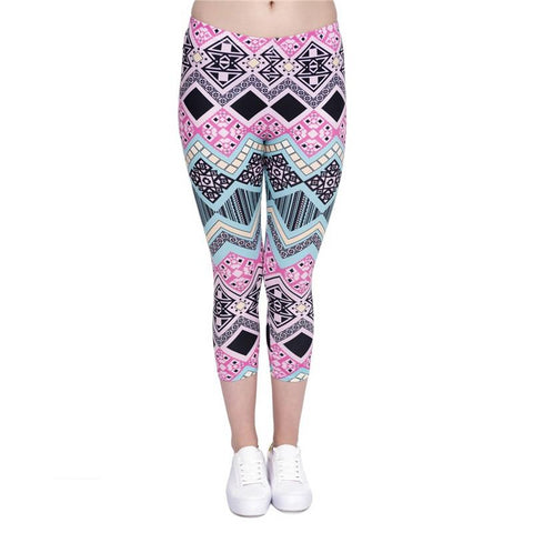 Aztec Pink Capri Leggings-Wholesale Leggings UK- Wholesale Women's Clothing- Kukubird Creative Studio