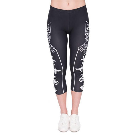 Egyptian Cat And Symbols Capri Leggings-Wholesale Leggings UK- Wholesale Women's Clothing- Kukubird Creative Studio