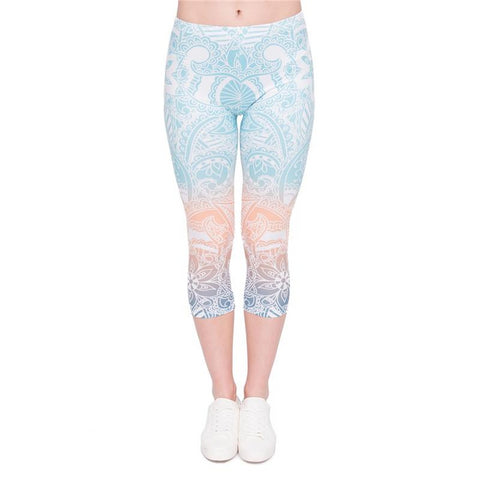Mandala Mint Capri Leggings-Wholesale Leggings UK- Wholesale Women's Clothing- Kukubird Creative Studio