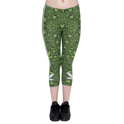 Marijuana Stripes Capri Leggings-Wholesale Leggings UK- Wholesale Women's Clothing- Kukubird Creative Studio