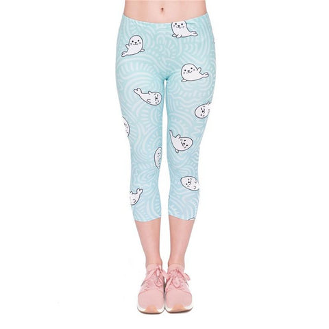 White Seal Capri Leggings-Wholesale Women's Leggings, Wholesale Plus Size , Wholesale Fashion Clothing