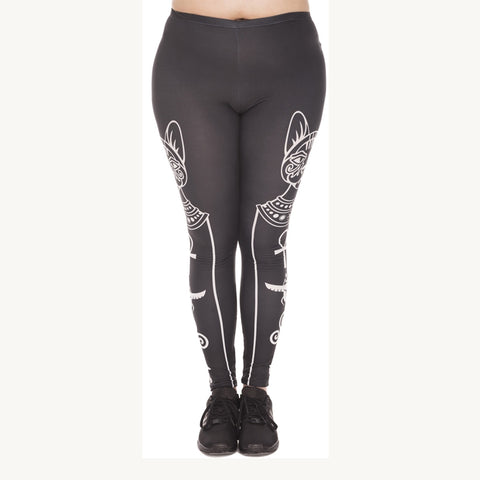 Egyptian Cat And Symbols Plus Leggings-Wholesale Women's Leggings, Wholesale Plus Size , Wholesale Fashion Clothing