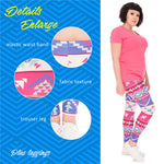 Boho Pink Plus Leggings-Wholesale Women's Leggings, Wholesale Plus Size , Wholesale Fashion Clothing