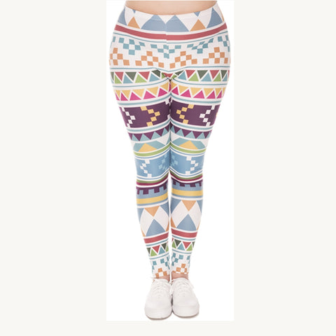 Aztec Maritime Plus Leggings-Wholesale Women's Leggings, Wholesale Plus Size , Wholesale Fashion Clothing