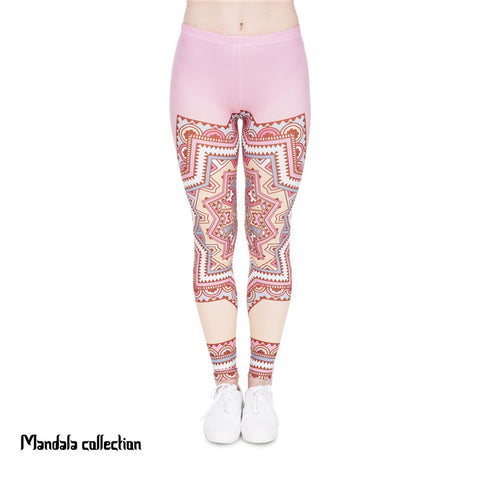 Mandala Pink Star Regular Leggings-Wholesale Women's Leggings, Wholesale Plus Size , Wholesale Fashion Clothing