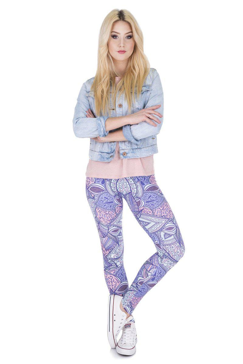 Aztec Jungle Regular Leggings-Kukubird Creative Studio