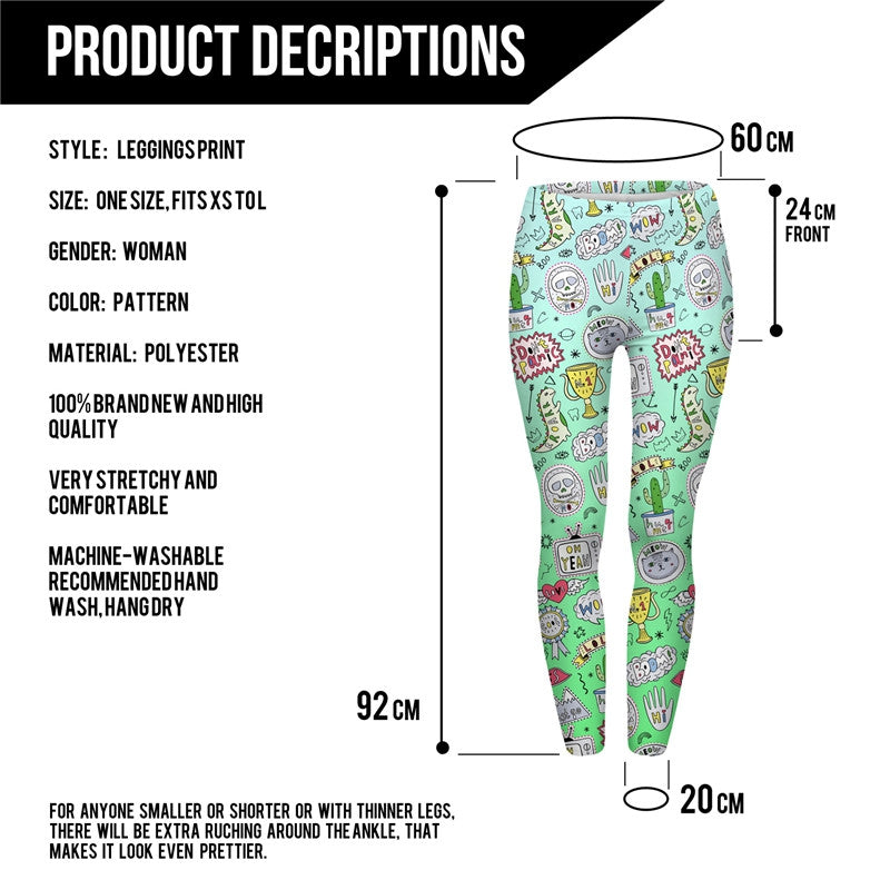 Doodle Green Regular Leggings.-Wholesale Leggings UK- Wholesale Women's Clothing- Kukubird Creative Studio