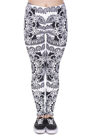 Mandala Black Regular Leggings-Wholesale Women's Leggings, Wholesale Plus Size , Wholesale Fashion Clothing