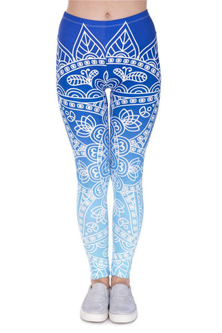 Mndalaombre Blue Regular Leggings-Wholesale Leggings UK- Wholesale Women's Clothing- Kukubird Creative Studio