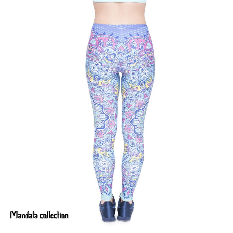 Mandala Green Flowers  Regular Leggings