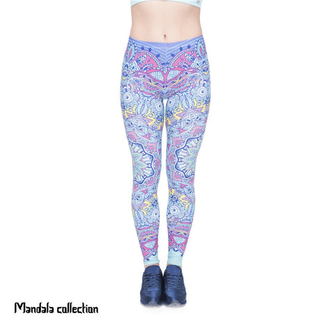 Mandala Green Flowers Regular Leggings-Wholesale Leggings UK- Wholesale Women's Clothing- Kukubird Creative Studio