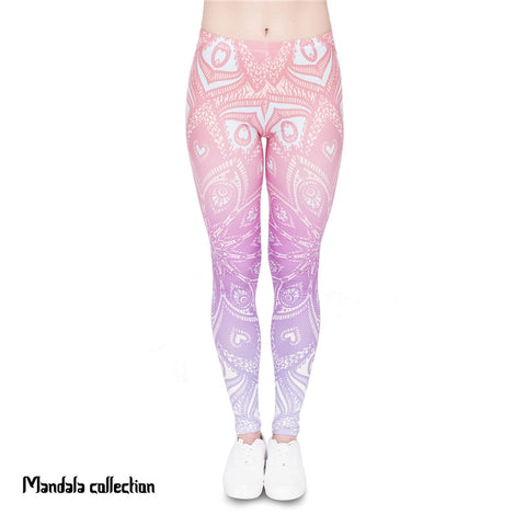 Mandala Orange Ombre Regular Leggings-Wholesale Women's Leggings, Wholesale Plus Size , Wholesale Fashion Clothing