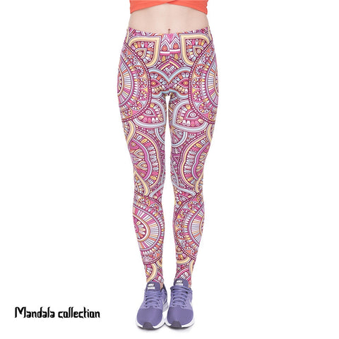 Mandala Yellow Regular Leggings-Wholesale Women's Leggings, Wholesale Plus Size , Wholesale Fashion Clothing