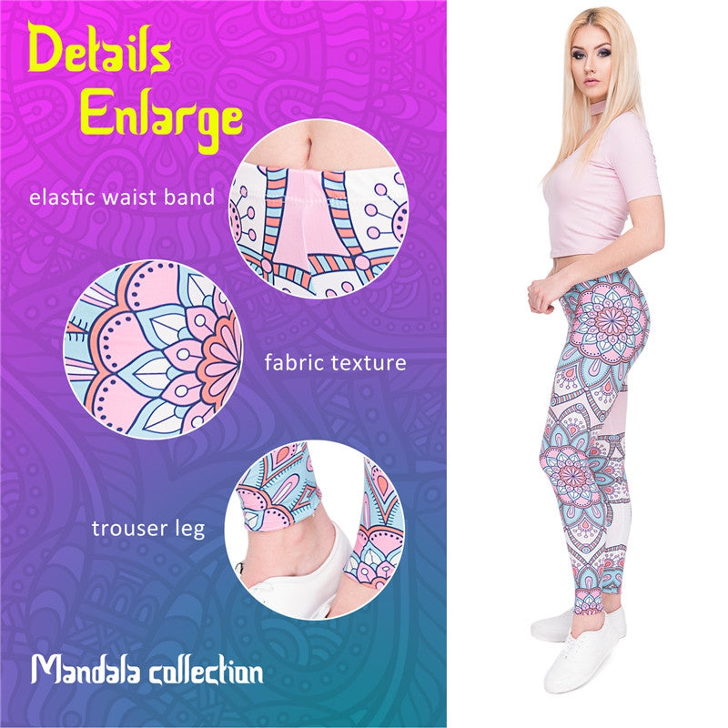 Mandala Turquoise Flowers Regular Leggings.