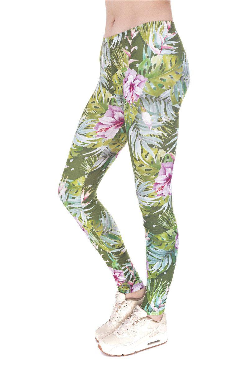Tropical Flowers Green Pink Regular Leggings