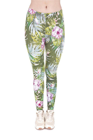 Tropical Flowers Green Pink Regular Leggings-Wholesale Women's Leggings, Wholesale Plus Size , Wholesale Fashion Clothing