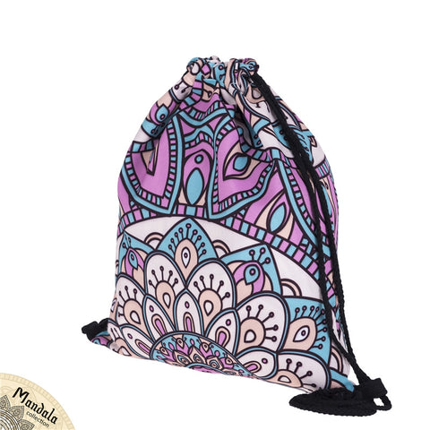 Mandala Turquoise And Pink DrawString Bags-Wholesale Women's Leggings, Wholesale Plus Size , Wholesale Fashion Clothing