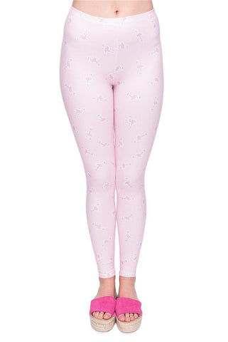 Flamingo stickers Regular Leggings-Wholesale Women's Leggings, Wholesale Plus Size , Wholesale Fashion Clothing