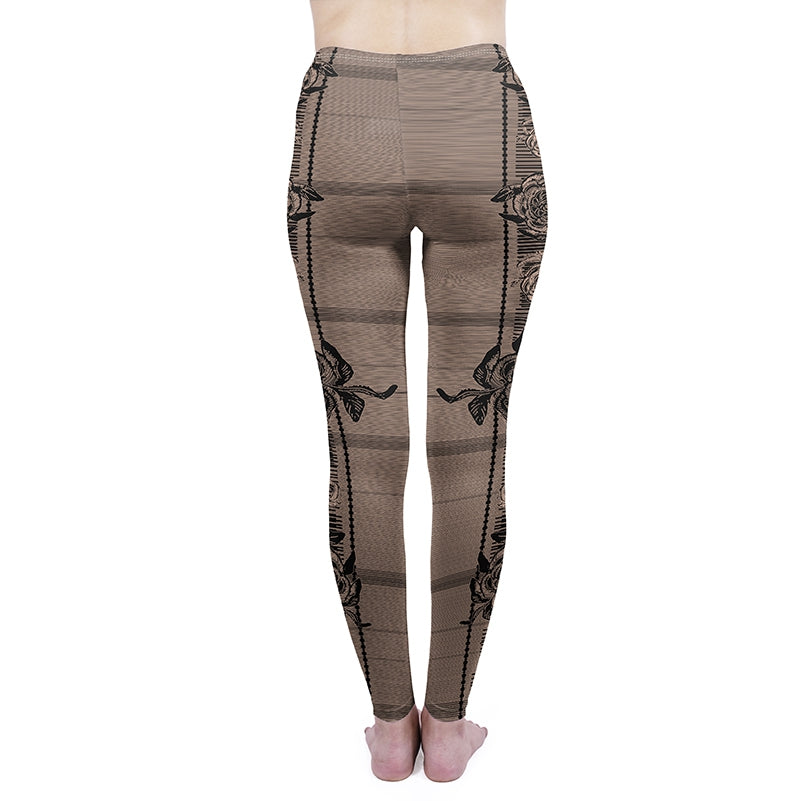 Rose Black Regular Leggings