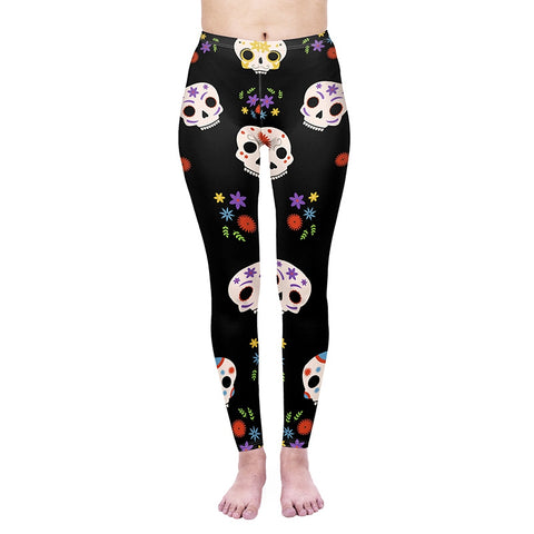 Bright skulls Regular Leggings-Wholesale Women's Leggings, Wholesale Plus Size , Wholesale Fashion Clothing