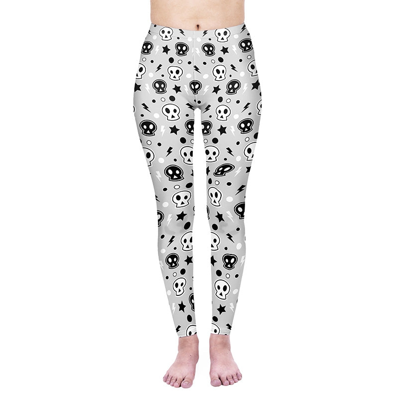 Poo Skulls Regular Leggings-Wholesale Leggings UK- Wholesale Women's Clothing- Kukubird Creative Studio