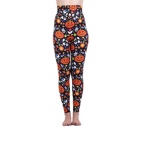 Happy Pumpkin High Waisted Leggings-Wholesale Women's Leggings, Wholesale Plus Size , Wholesale Fashion Clothing