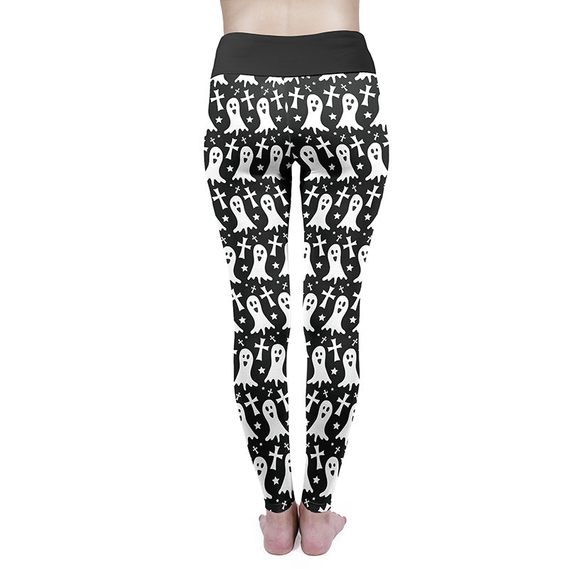 Monochrome Ghost High Waisted Leggings
