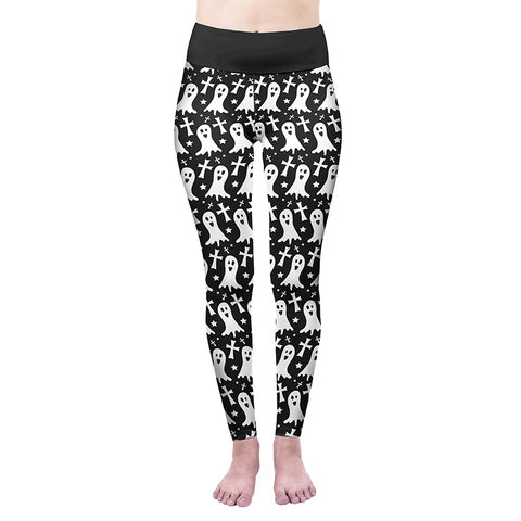 Monochrome Ghost High Waisted Leggings-Wholesale Women's Leggings, Wholesale Plus Size , Wholesale Fashion Clothing