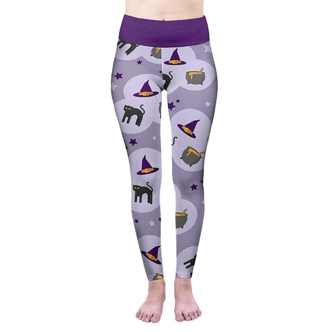Purple Witches High Waisted Leggings-Wholesale Women's Leggings, Wholesale Plus Size , Wholesale Fashion Clothing