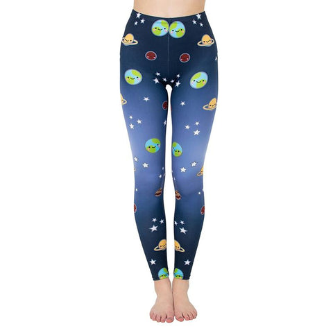 Cute Planets Regular Leggings-Wholesale Women's Leggings, Wholesale Plus Size , Wholesale Fashion Clothing